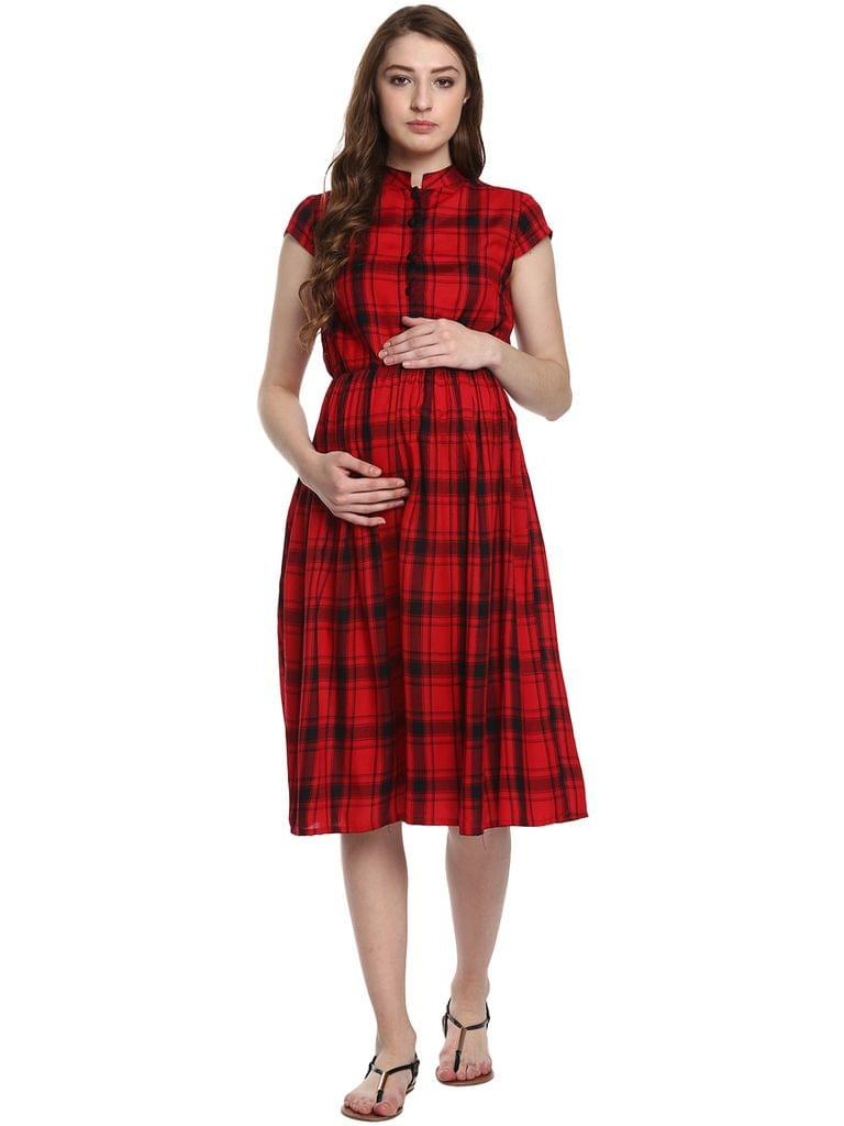 Mine4nine Women's Red and Black Checked Maternity Dress