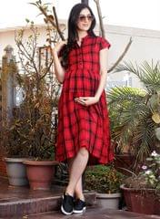Women's Red and Black Checked Maternity Dress