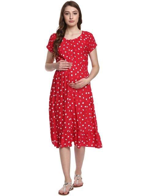 Mine4nine Women's Red Smoking Flared Maternity Dress