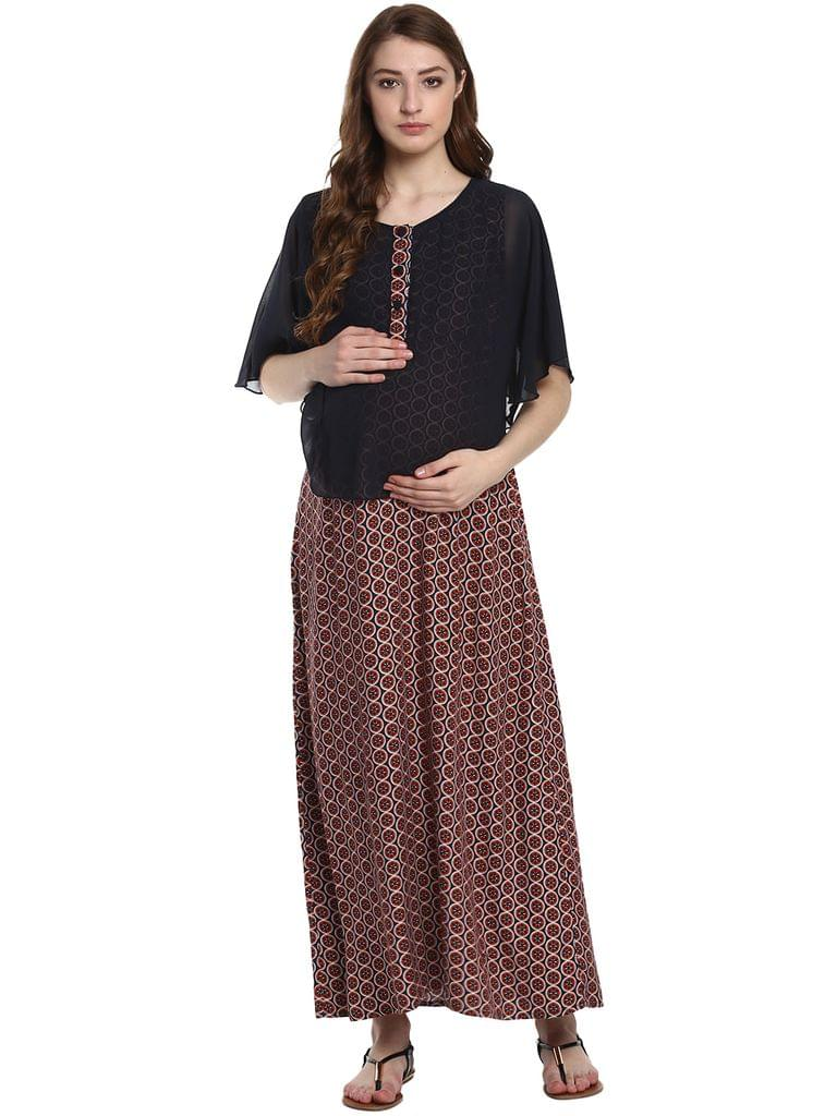 Mine4Nine Women's Blue and Brown Maxi Layered Floral Printed Maternity Dress