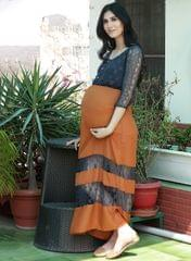 Women's Mustard and Grey Lace Maternity Maxi Dress
