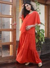 Women's Ruffled Layered Maternity Maxi Dress