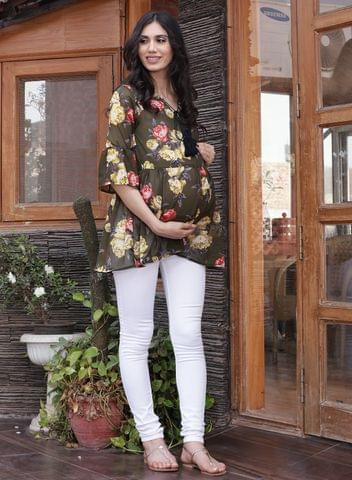 Mine4nine Women's Olive Gathered Printed Maternity Top