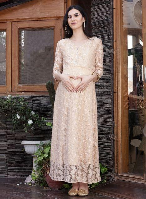 Beige Solid Lace Maternity Maxi Dress
