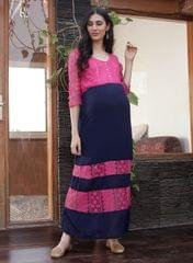 Women's Blue and Pink Lace Maternity Maxi Dress