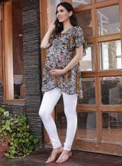 Women's Black A-Line Floral Printed Maternity Top