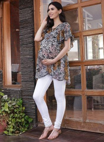 Mine4nine Women's Black A-Line Floral Printed Maternity Top