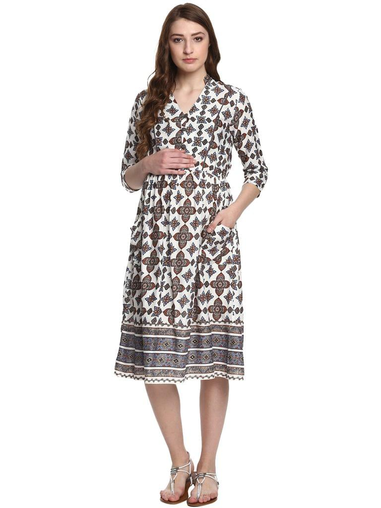 Mine4nine Women's Floral Bordered Maternity Fit and Flare Dress