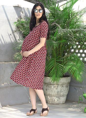 Mine4nine Women's Red floral printed maternity dress