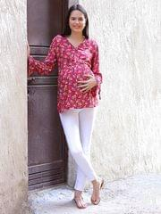 Women's Rayon Maternity Top (Pink)