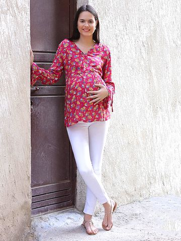 Mine4Nine Women's Rayon Maternity Top (Pink)