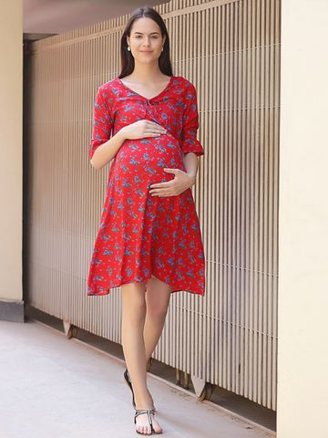Mine4Nine Women's Rayon Maternity Mini Dress (Red)