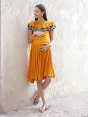 Women's Rayon Maternity Midi Dress (Mustured)
