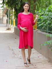 Women's Rayon Maternity Midi Dress (Pink)