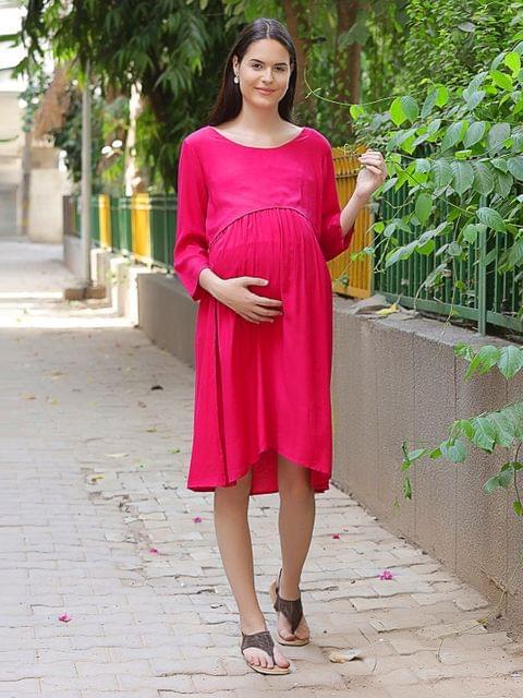 Basic Rayon Maternity Midi Dress