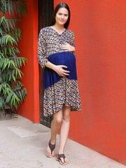 Women's Rayon Maternity Midi Dress (Navy)