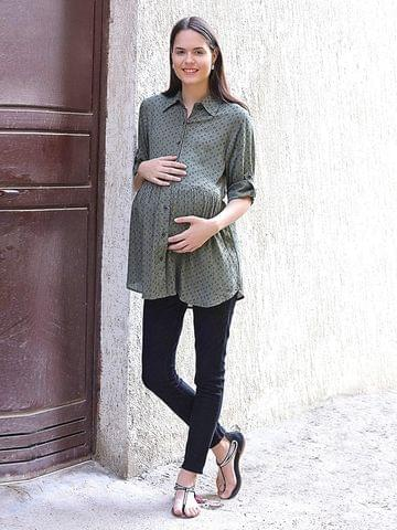 Mine4Nine Women's Rayon Maternity Top (Olive)