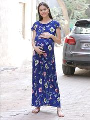 Women's Rayon Maternity Maxi Dress (Navy)