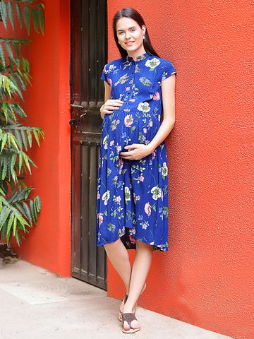 Mine4Nine Women's Rayon Maternity Midi Dress (Navy)