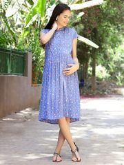 Women's Rayon Maternity Midi Dress (Sky Blue)