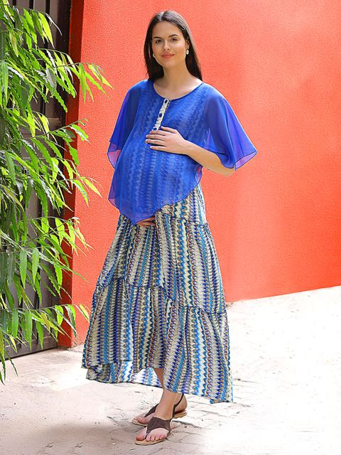 long flared fit ankle maternity dress