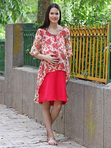 Mine4Nine Women's Summer Cool Maternity Midi Dress (Pink)