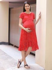 Women's Rayon Maternity Knee Length (Red)