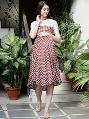 Stunning Brown Checks and Lace Maternity Dress