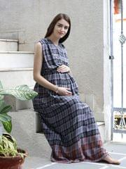 Achromatic Grey Maternity & Nursing Dress