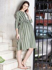 Olive Stripes Maternity Dress