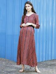 Geometric Boho Rouge Maternity & Nursing Dress