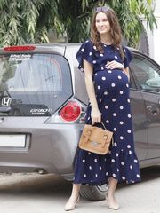 Elegant Retro Polka Dots Maternity & Nursing Dress