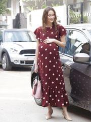 Elegant Retro Chic Polka Dots Maternity & Nursing Dress