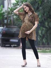 Khaki Calico Floral Maternity Top