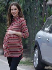 Crisp Pink Zig-Zag Striped Maternity & Nursing Top