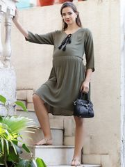 Mine4Nine Women' RayonFit&FlareMaternity Dress(Olive,MNDR4509-S)