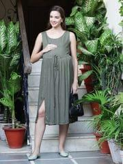Mine4Nine Women' RayonFit&FlareMaternity Dress(Olive,MNDR4406-S)