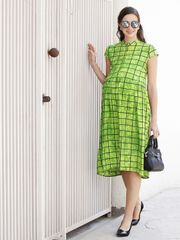 Mine4Nine Women' RayonFit&FlareMaternity Dress(Green,MNDR4709-S)