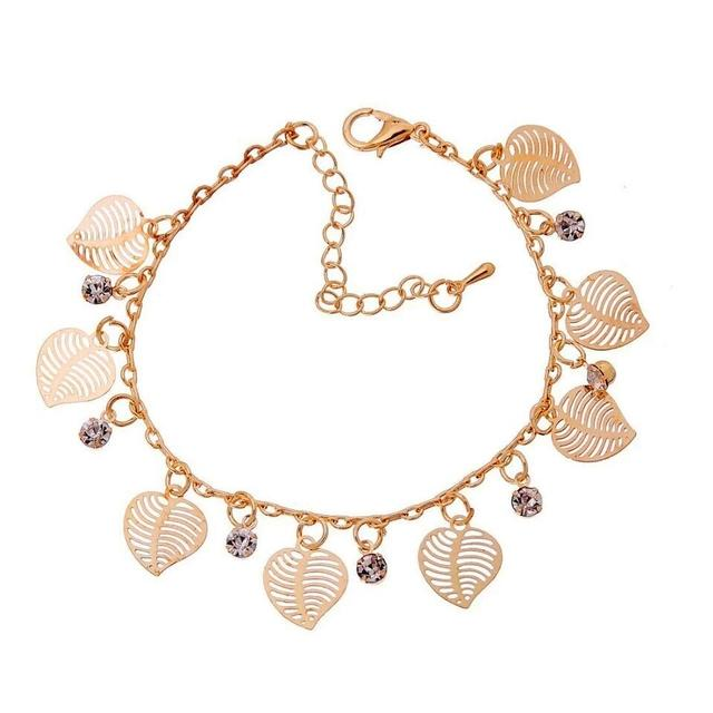 Gold Plated  Zircon Crystal Leaf Charm Bracelet