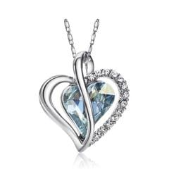 Platinum Plated Blue Swarovski Crystals Heart Pendant Necklace