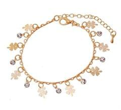 Gold Plated  Zircon Crystal Small Leaf Charm Bracelet