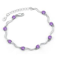 92.5 Silver Plated Purple Cubic Zircon Diamond Bracelet