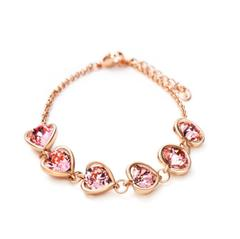 Rose Gold Plated Pink Swarovski Elements Heart Bracelet