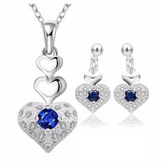Sterling Silver Blue Austrian Crystal Heart Jewellery Set