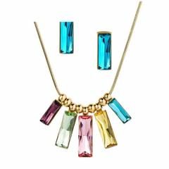 Gold Plated Multicolour Swarovski Crystals Jewellery Set