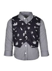 A Little Fable Black Stripe Shirt With Waistcoat