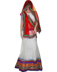 Owomaniya Traditional White Net Lehenga Choli And Dupatta Set
