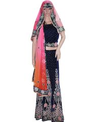 Owomaniya Traditional Navy Blue Velvet Lehenga Choli And Dupatta Set