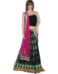 Owomaniya Traditional Dark Green Net Lehenga Choli And Dupatta Set