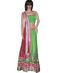 Owomaniya Traditional Green Crepe Lehenga Choli And Dupatta Set